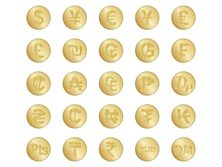 set of golden badges with some of currency signs Stock Vector - 17619496