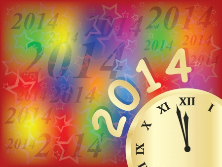 New Year 2014 bright holiday background