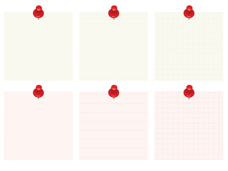 set of blank notes with red push pins Stock Vector - 17817509