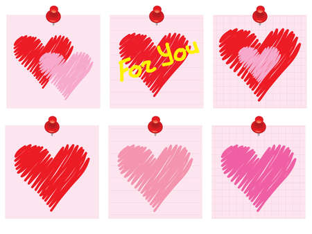 set of Valentines Day notes with scribbled heart Vector