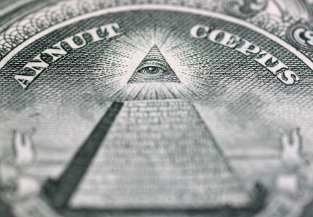 one hundred dollars: close up of Eye of Providence on one hundred dollars banknote