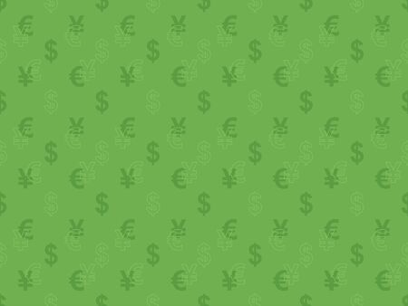 green seamless pattern with currency signs Vector