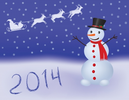 New Year 2014 background with snowman Stock Vector - 18098001
