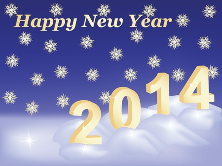 Happy New Year 2014 congratulation card Stock Vector - 18133443