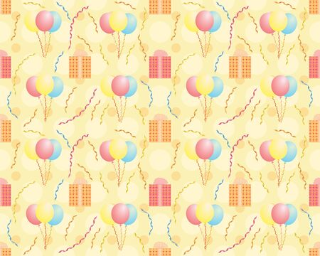 seamless birthday pattern with balloons and presents Stock Vector - 18165845