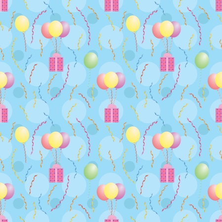 blue seamless pattern with balloons carrying presents Vector