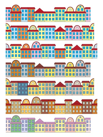edifice: set of seamless rows of color buildings
