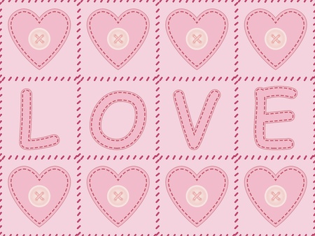 felt: pink background with sewed felt valentines and word love