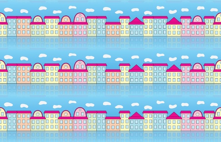 edifice: seamless pattern with buildings over blue sky Illustration