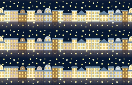 seamless pattern with buildings at night Stock Vector - 18408771