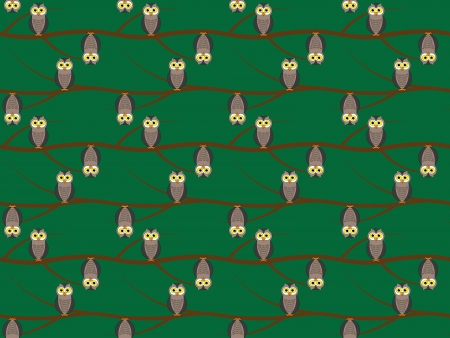 seamless pattern with owls on branches Stock Vector - 18419446