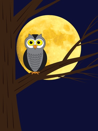 cartoon owl sitting on a branch of tree over full moon Stock Vector - 18428582