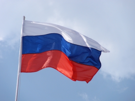 flagstaff: flag of Russia on flagstaff