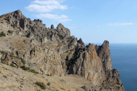 view on extinct volcano Kara Dag in Crimea photo