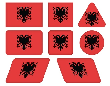 albania: set of buttons with flag of Albania