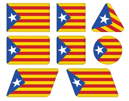 set of buttons with flag of Catalonia