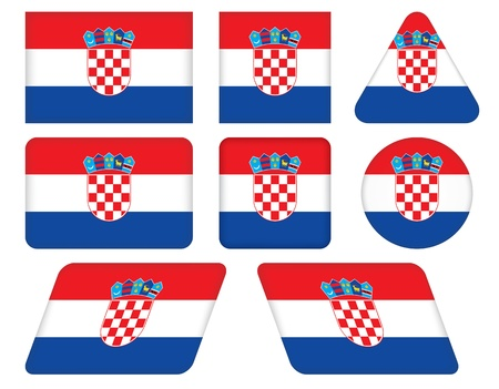 set of buttons with flag of Croatia Vector