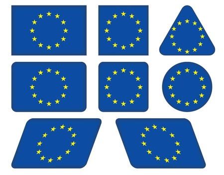 set of buttons with flag of European Union Vector