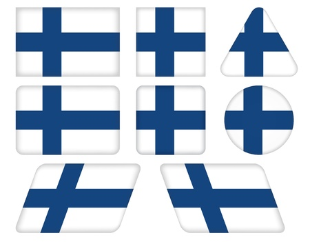set of buttons with flag of Finland Vector
