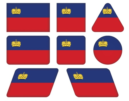 set of buttons with flag of Liechtenstein Vector