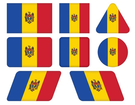 moldovan: set of buttons with flag of Moldova