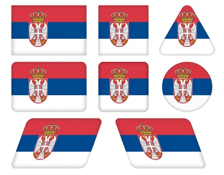 set of buttons with flag of Serbia Vector