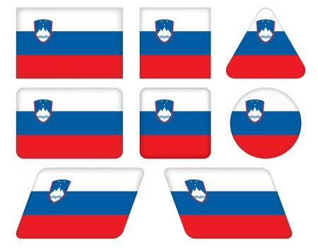 slovenian: set of buttons with flag of Slovenia