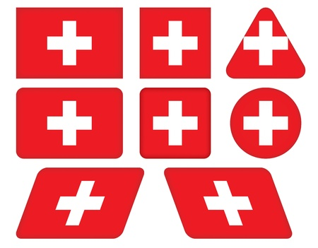 swiss flag: set of buttons with flag of Switzerland