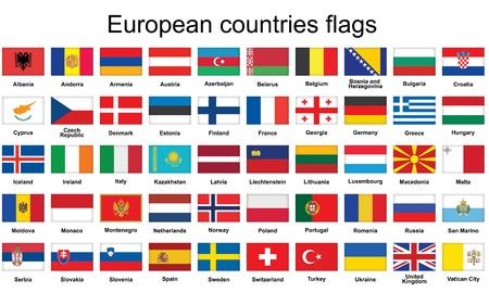 italien flagge: Set Rechteck Schaltflächen mit europäischen Ländern Flaggen