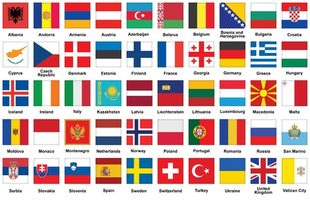 san marino: set of square icons with flags of Europe Illustration