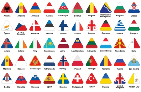 set of triangle icons with European flags Vector