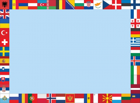 frame made of European flags icons Vector