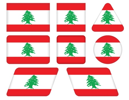 set of buttons with flag of Lebanon Vector