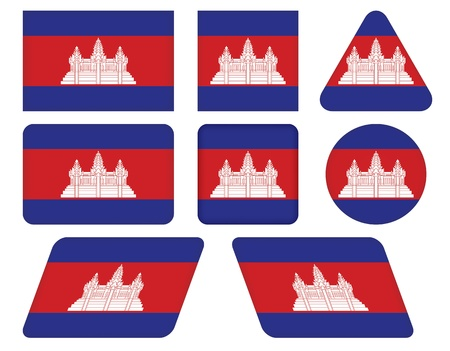 cambodian flag: set of buttons with flag of Cambodia Illustration