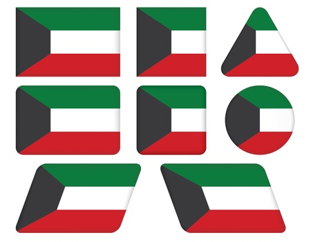 set of buttons with flag of Kuwait Vector