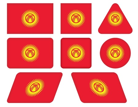 kyrgyzstan: set of buttons with flag of Kyrgyzstan