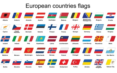 set of European countries flags icons Vector