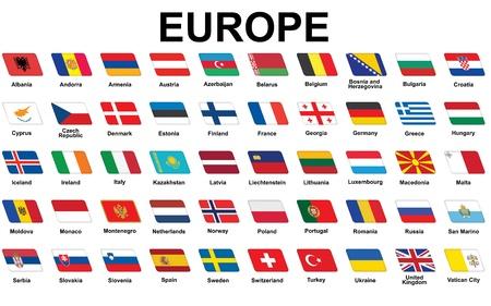 drapeau hollande: ensemble d'ic�nes avec des drapeaux de l'Europe