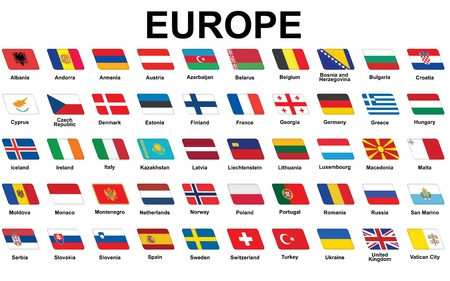 set of icons with flags of Europe Vector