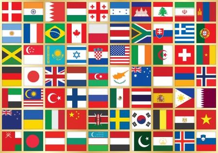 flag australia: golden background with square flag icons Illustration