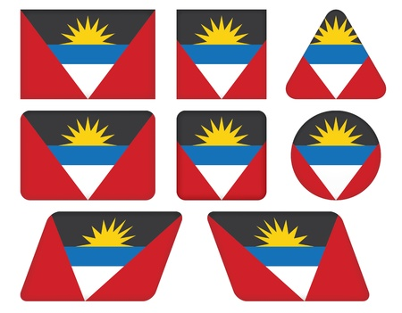 barbuda: set of buttons with flag of Antigua and Barbuda Illustration