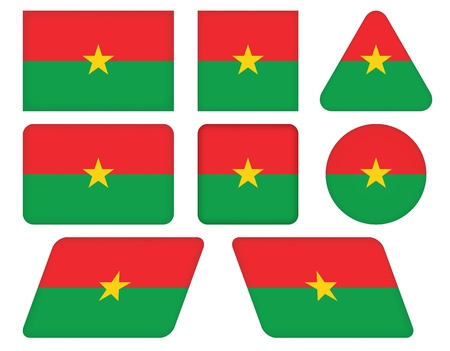 set of buttons with flag of Burkina Faso Vector