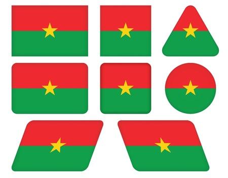 burkina faso: set of buttons with flag of Burkina Faso Illustration