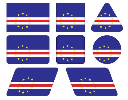 cape verde: set of buttons with flag of Cape Verde