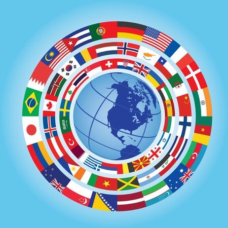 c�rculos de banderas alrededor del globo