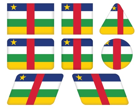 central african republic: set of buttons with flag of Central African Republic