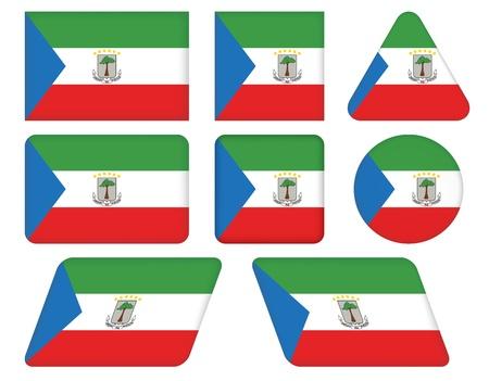 equatorial: set of buttons with flag of Equatorial Guinea