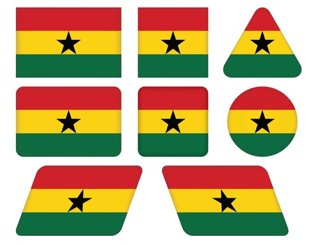 ghana: ensemble de boutons avec le drapeau du Ghana