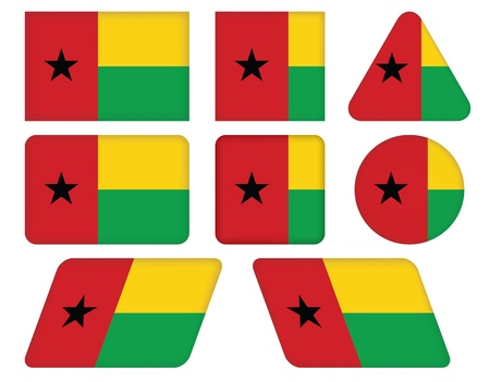 set of buttons with flag of Guinea-Bissau Vector