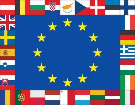欧州連合のフラグ アイコン フレーム  イラスト・ベクター素材